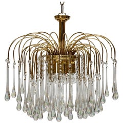 Italian Brass and Murano Glass Chandelier