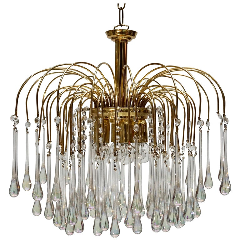 Italian Brass and Murano Glass Chandelier