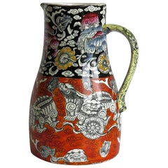 Rare Mason's Ironstone Jug or Pitcher in Bandana Pattern, Circa 1840