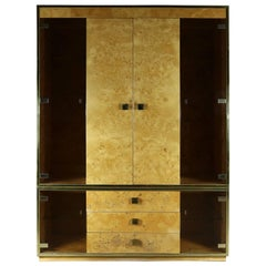 Founders Furniture Burled Wood and Smoke Glass Wall Unit Display Cabinet Lighted