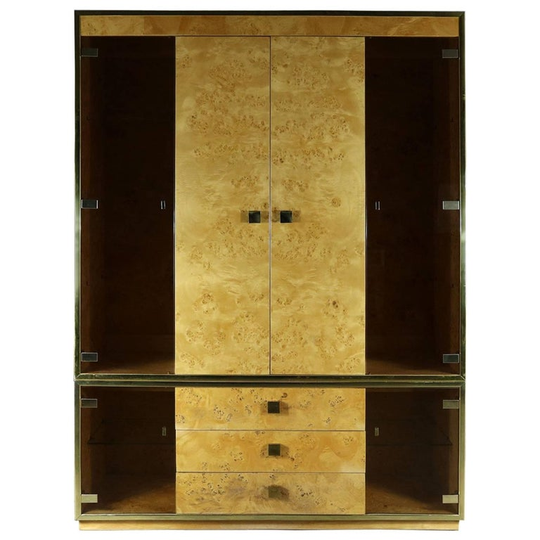 Black Laminate Glass Brass Modular Freestanding Wall Unit Display ...
