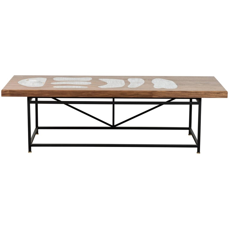 Solid Walnut and Ceramic Coffee Table by Heather Rosenman for Collabs in Clay