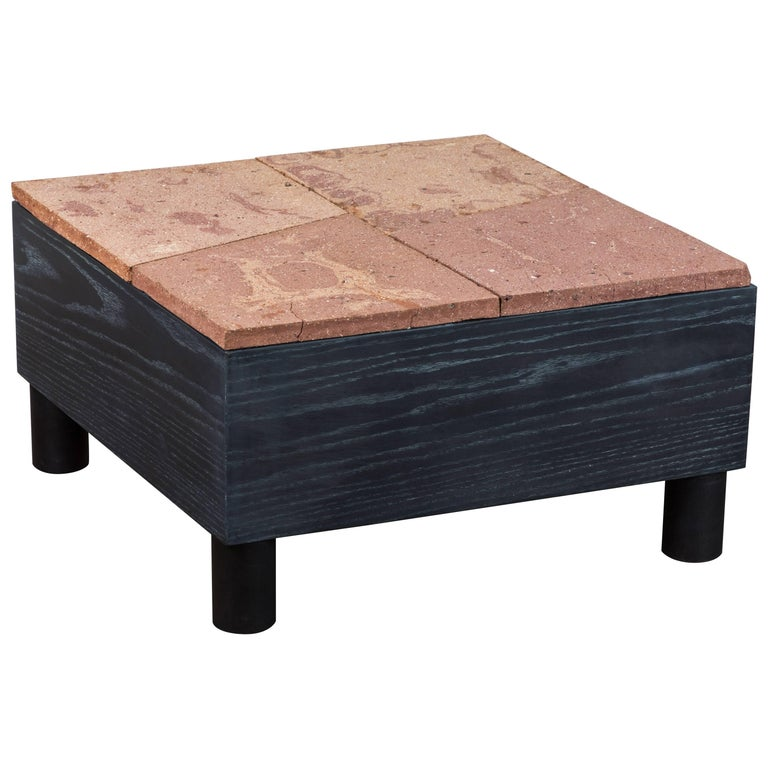 Solid Oak and Ceramic Side Table by Jonathan Cross for Collabs in Clay For Sale