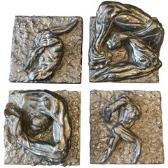 Four Bronze Brutalist Anatomical Man-Art Hanging Wall Sculptures by Miles Slater