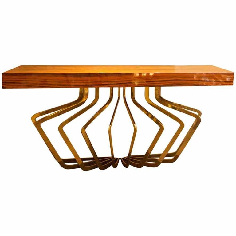 Midcentury italian brass and lacquered madagascar wood