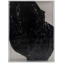 Black Crush, Mylar on Canvas in Lucite Box Frame