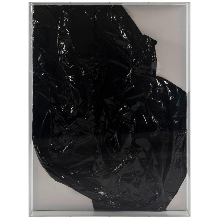 Black Crush, Mylar on Canvas in Lucite Box Frame