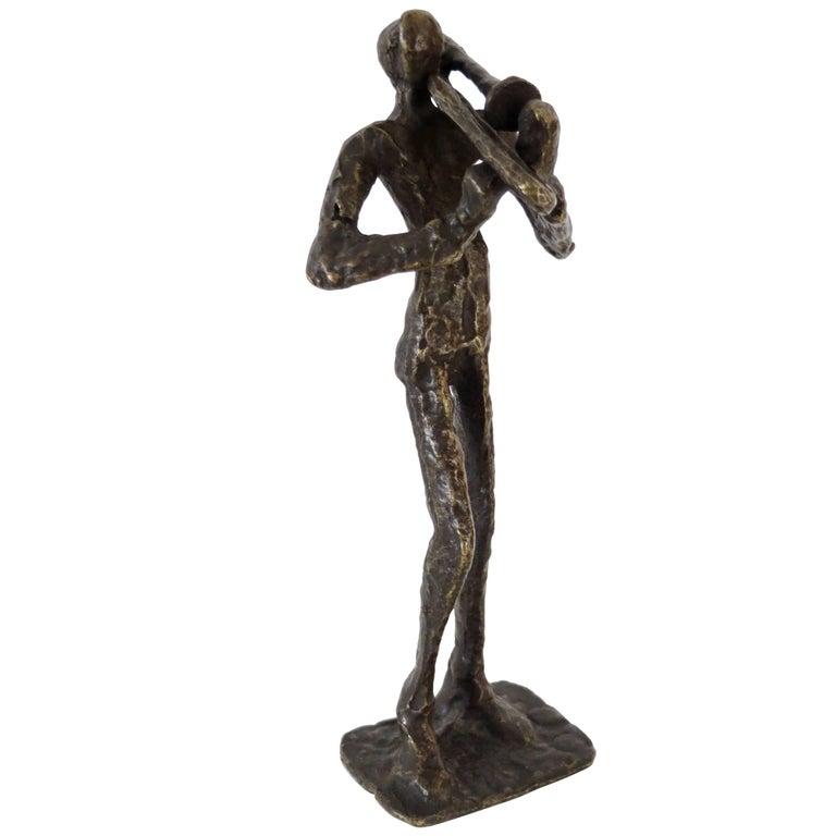 Abstract Cast Bronze Sculpture of a Trombonist