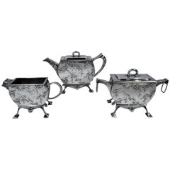 Early Tiffany Sterling Silver Three-Piece Japonesque Tea Set