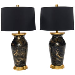 Pair of Liz Marsh Black and Gold Art Deco Style Églomisé Lamps With Black Shades
