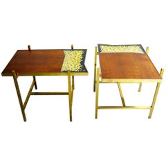 Pair of Italian Glass Mosaic Mahogany Wood Side Tables