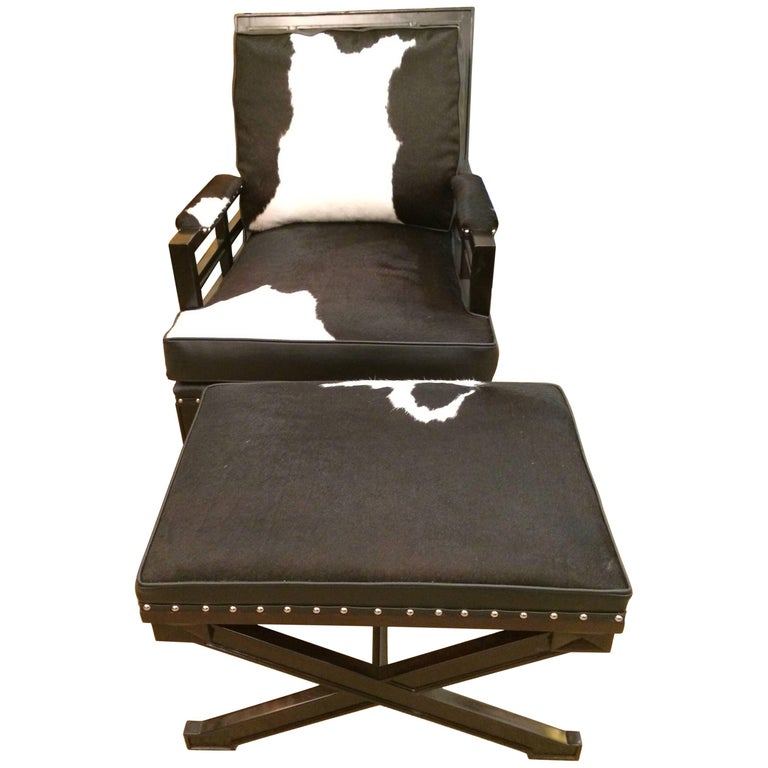 Sexy Black and White Leather Cowhide Club Chair and Ottoman For Sale