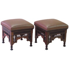 Well-Carved Pair of Moroccan Square Stools with Ebonized Highlights