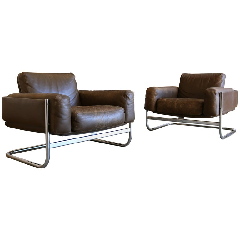 Patinated leather Lounge Chairs by Sven Ivar Dysthe for Dokka Mobler Norway  For Sale