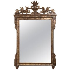 Monumentally Large Neoclassical Carved Silver Giltwood Mirror