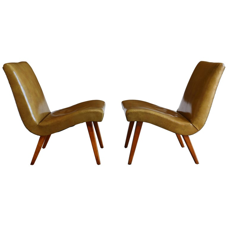 Early Pair of Lounge Chairs by Jens Risom for Knoll For Sale