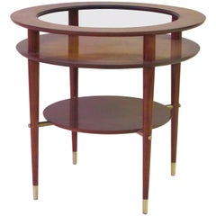 Stylish Italian Midcentury Circular Side Table with Glass Top and Brass Fittings
