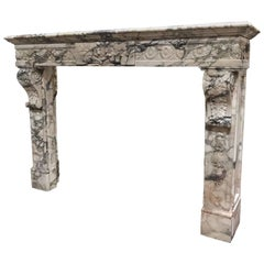 Antique Breccia Marble Mantel, circa 1850