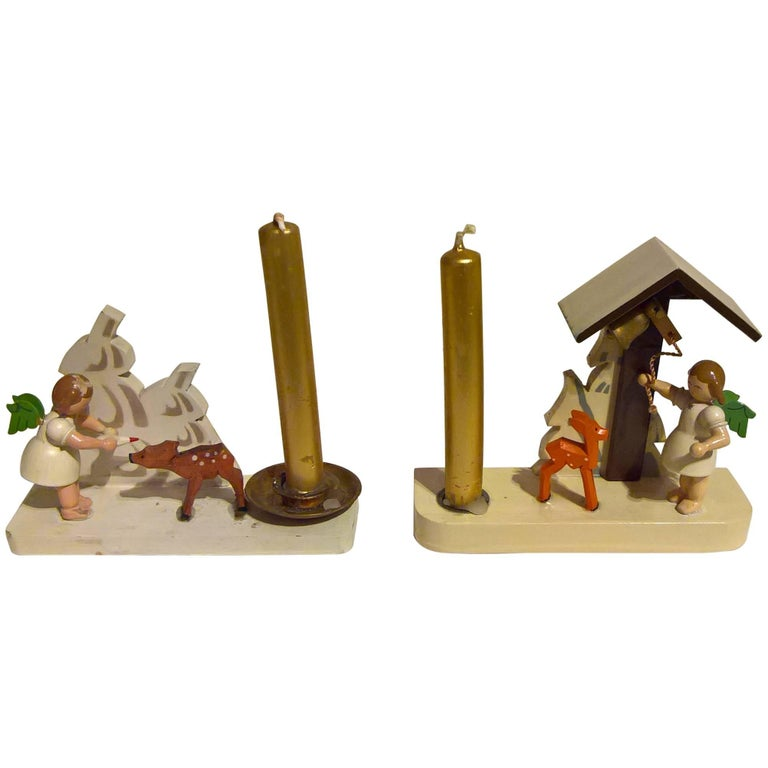 Vintage Pair of Christmas Figures with Candlestick from Erzgebirge