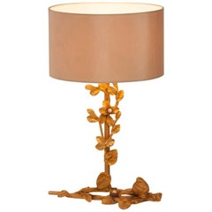 French Brass Table Lamp with Bird and Pearl Detail by Fondica, France