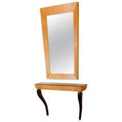 Midcentury Italian Opaline and Palisander Wood Console and Mirror Duo