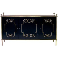 Exquisite American Black Lacquer Three-Door Sideboard by Daniel Jones, Inc., NY
