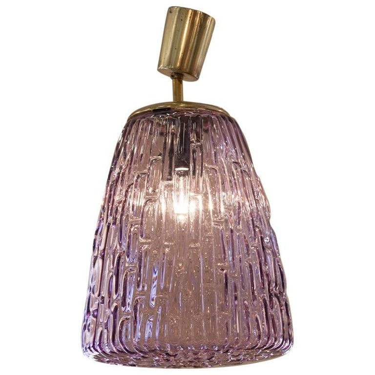Midcentury Vintage Lilac and Brass Murano Pendant