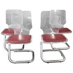 Mid-Century Modern Set of Four Lucite Dining Chairs by Luigi Bardini for Hill
