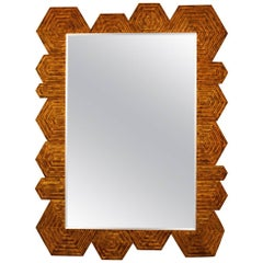 Midcentury French Geometric Giltwood Mirror