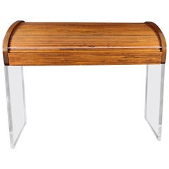 Mid-Century Modern Vladimir Kagan Roll Top Lucite and Rosewood Desk, 1960s