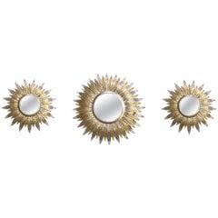 Faniciful Set of Three Art Deco Silver and Gold Gilt Tole Sunburst Mirrors