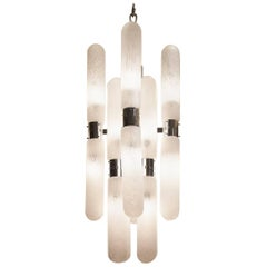 Midcentury Chrome and Glass Sixteen-Arm Chandelier by Carlo Nason