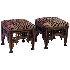 Good Pair of Moroccan Carved and Ebonized Square Stools