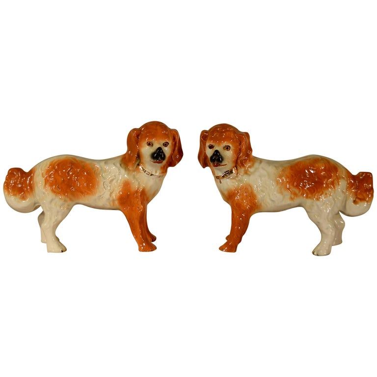 19th Century Pair of Staffordshire Standing Dogs