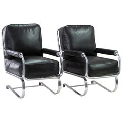 Rare Pair of American 1930s Machine Age Tubular Chrome Springer Armchairs