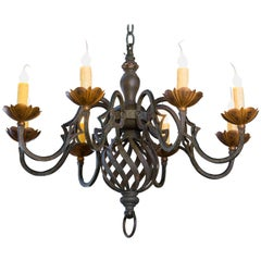 Black and Gold Iron Chandelier with Eight Arms from France, circa 1920