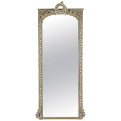 Large Tall French Louis XV Gilt Painted Mirror