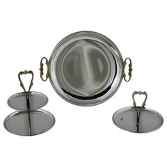 Kromex Trio of Chrome and Gold Tone Serving and Tidbit Trays