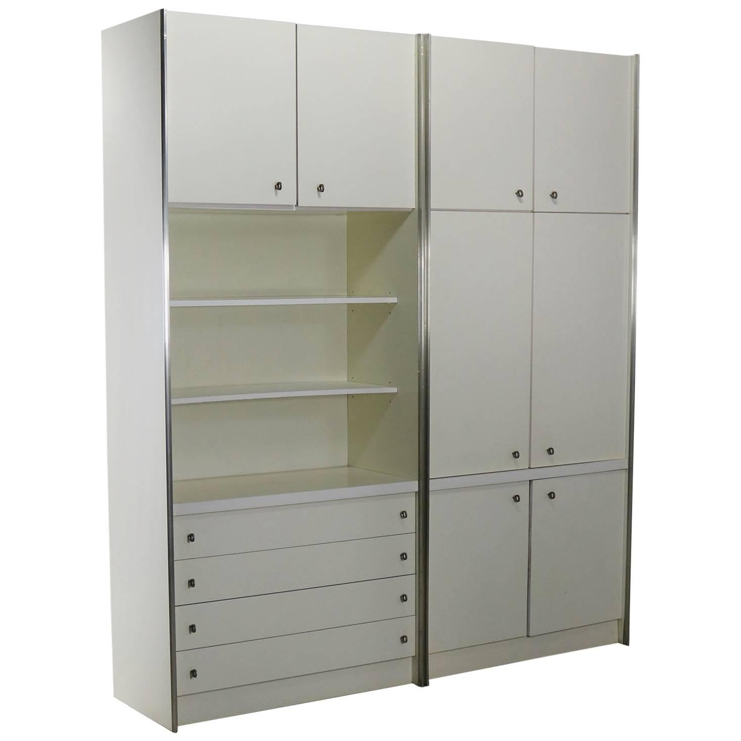 midcentury modern white laminate wall unit bookcase display cabinets a pair