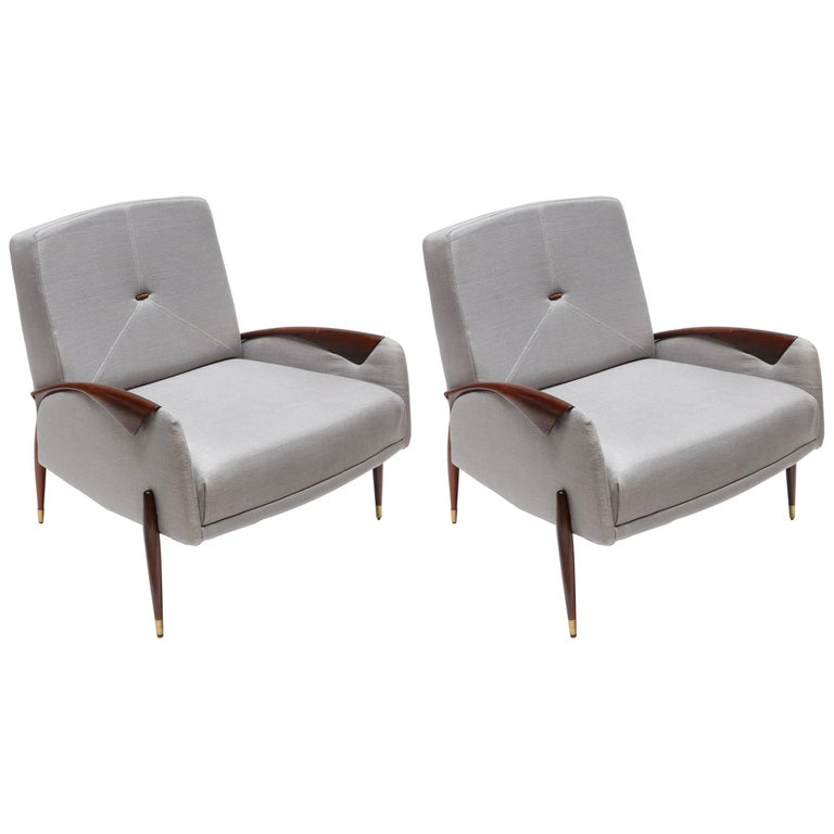 Pair of Scapinelli Brazilian Jacaranda Armchairs For Sale