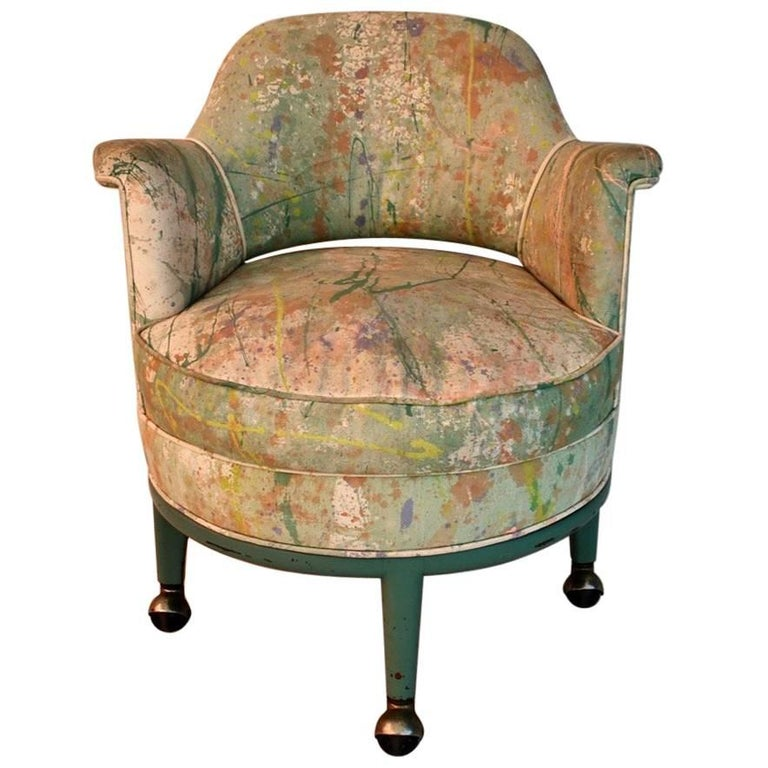 Very Rare Monterverdi Young Chair with Hand-Painted Jack Lenor Larsen Fabric For Sale