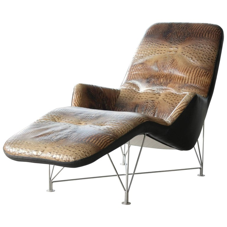 Kenneth bergenblad superspider chaise longue in crocodile for Black leather chaise sale
