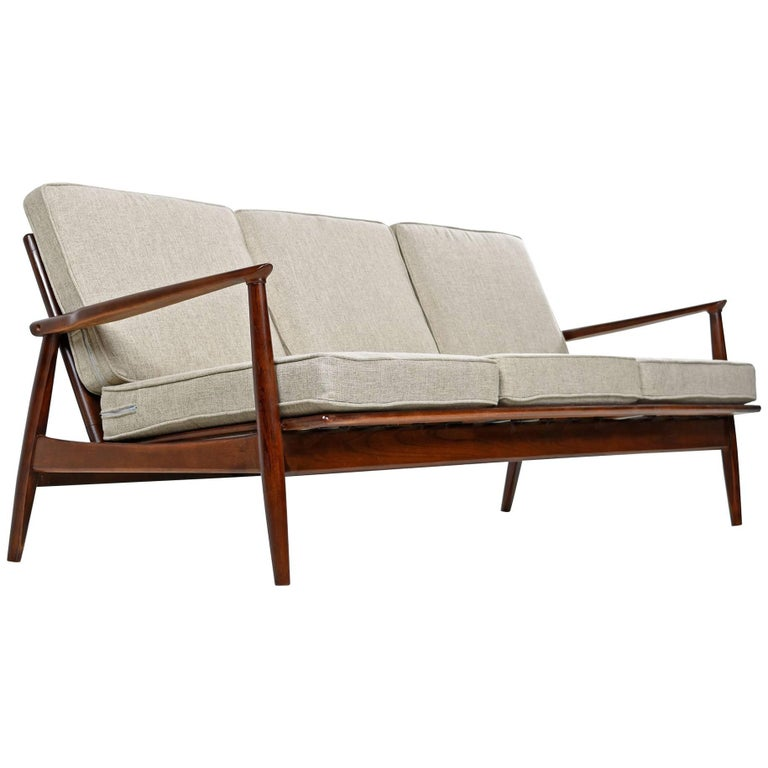 Mid Century Modern Grete Jalk Style Three Seat Wood Frame Sofa Couch For