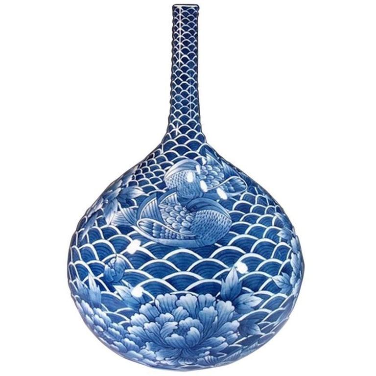 Japanese Blue Gourd Imari Porcelain Vase by Master Artist
