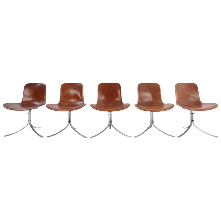Set of Five PK9 Chairs by Poul Kjaerholm for Kold Christensen, 1960s For Sale