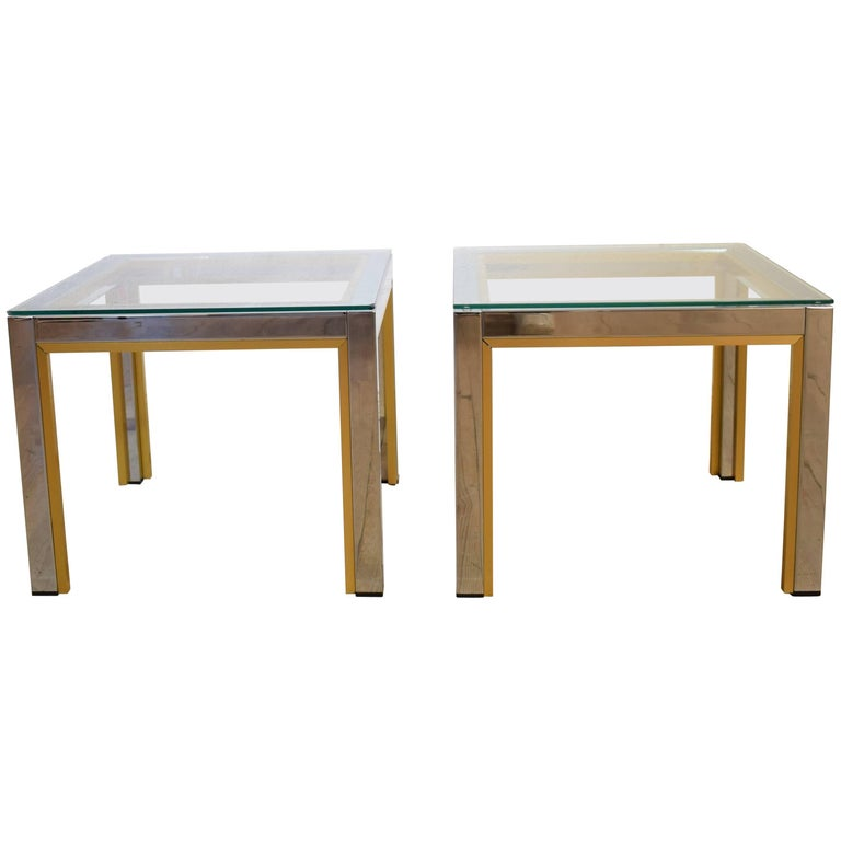 1970s Brass and Chrome Pair of Side Coffee Table by Renato Zevi for Romeo Rega