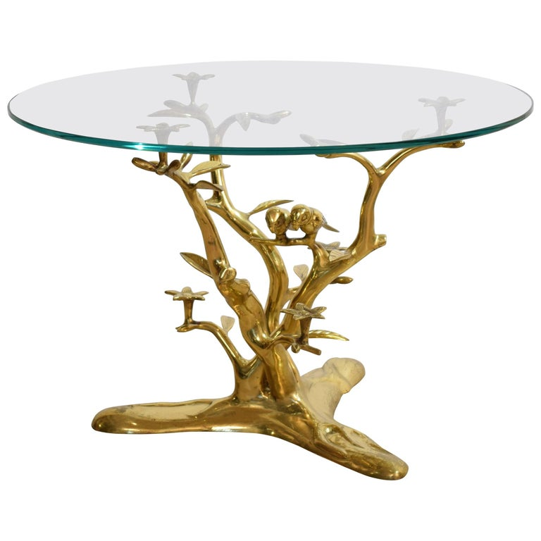 Mid-Century Organic Brass Coffee Table with Birds