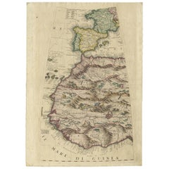 Rare Antique Map of Southwestern Europe and West Africa by V.M. Coronelli, 1692