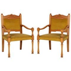 Italy Mid-20th Century Renaissance Side Chairs in Beech with Original Velvet