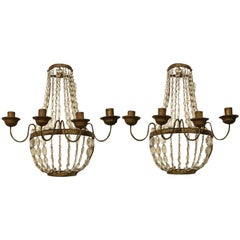Pair of 19th Century Italian Empire Gilt Iron and Crystal Basket Sconces